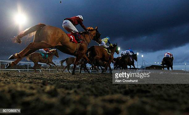 A general view as runners race towards the finish at Kempton Park racecourse on January 27 2016 in Sunbury England