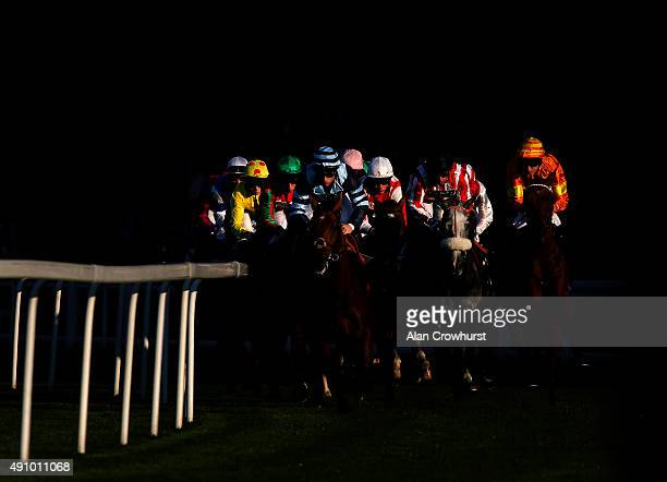 A general view as runners turn into the back straight at Ascot racecourse on October 02 2015 in Ascot England