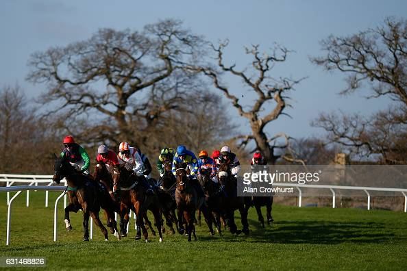 A general view as runners turn into the back straight at Taunton Racecourse on January 11 2017 in Taunton England
