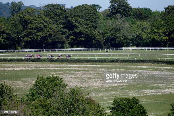 A general view as runners turn into the straight at Goodwood racecourse on May 26 2017 in Chichester England