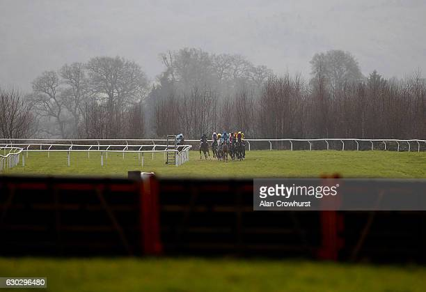 A general view as runners turn into the straight at Taunton Racecourse on December 20 2016 in Taunton England