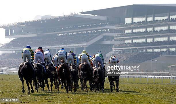 A general view as runners turn into the straight in The Pertemps Network Final clear a hurdle in the country during Cheltenham Festival St Patrick's...