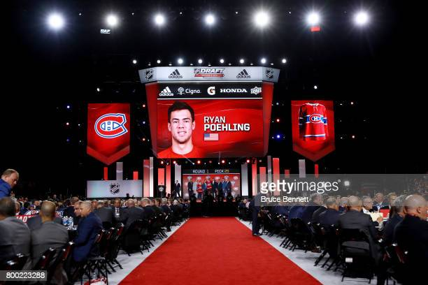 A general view as Ryan Poehling is selected 25th overall by the Montreal Canadiens during the 2017 NHL Draft at the United Center on June 23 2017 in...