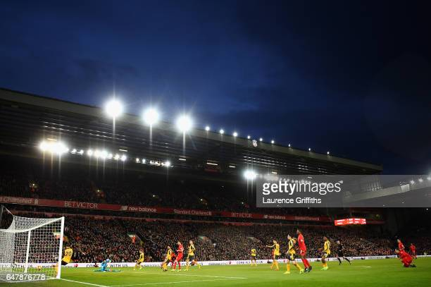 General view as Sadio Mane of Liverpool scores his sides second goal during the Premier League match between Liverpool and Arsenal at Anfield on...