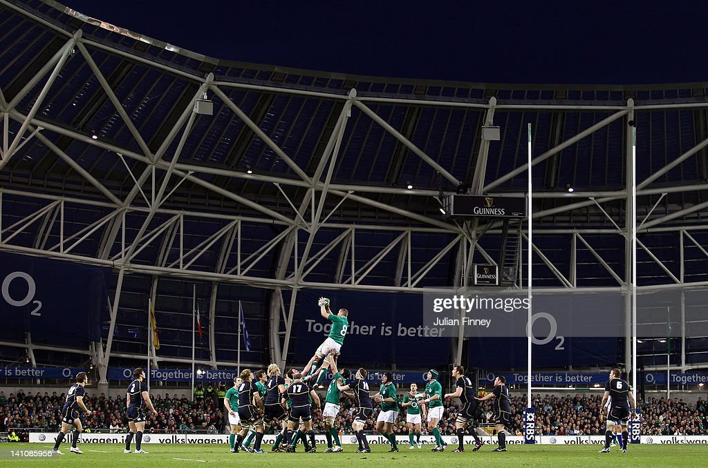 A general view as Scotland and Ireland contest a line out during the RBS Six Nations match between Ireland and Scotland at Aviva Stadium on March 10, 2012 in Dublin, Ireland.