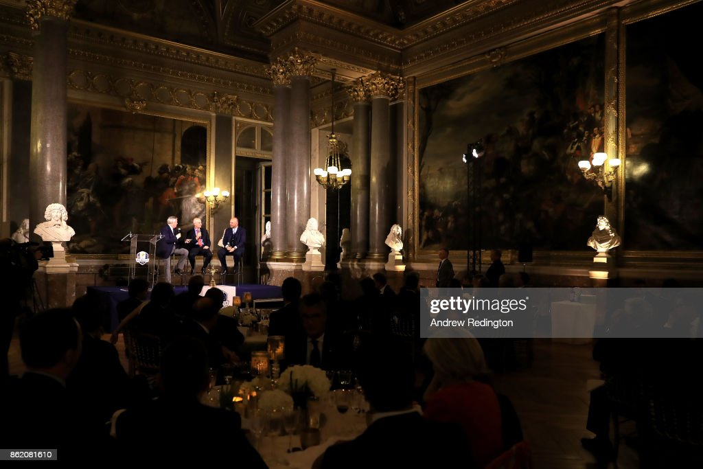 A general view as Scott Crockett, Media Director for European Tour, Jim Furyk and Thomas Bjorn speaks during the Ryder Cup 2018 Year to Go official dinner on October 16, 2017 in Versailles, France.