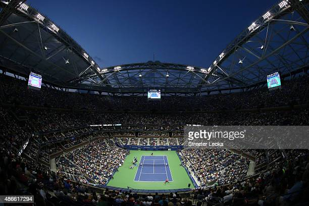 A general view as Serena Williams of the United States plays against Bethanie MattekSands of the United States during their Women's Singles Third...