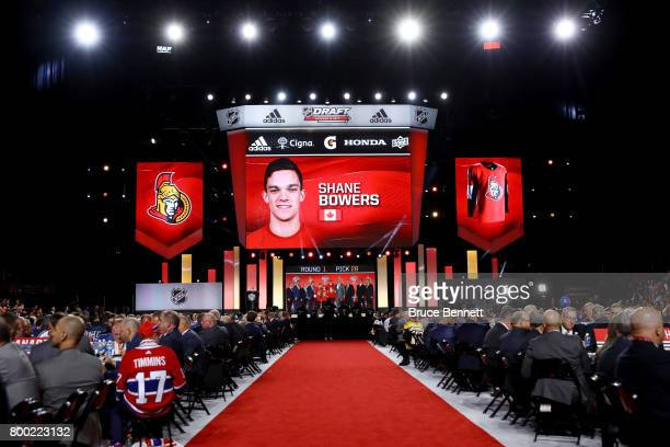 A general view as Shane Bowers is selected 28th overall by the Ottawa Senators during the 2017 NHL Draft at the United Center on June 23 2017 in...