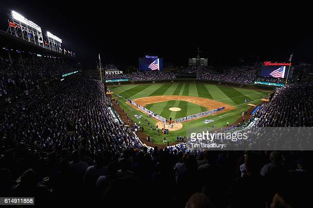 A general view as singer John Vincent performs the national anthem prior to game one of the National League Championship Series between the Chicago...