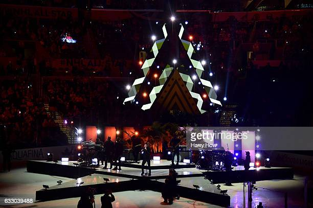 A general view as singer Nick Jonas performs prior to the 2017 Honda NHL AllStar Tournament Final between the Metropolitan Division AllStars and the...