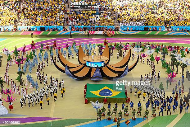 A general view as singers Jennifer Lopez Pitbull and Claudia Leitte perform during the Opening Ceremony of the 2014 FIFA World Cup Brazil prior to...
