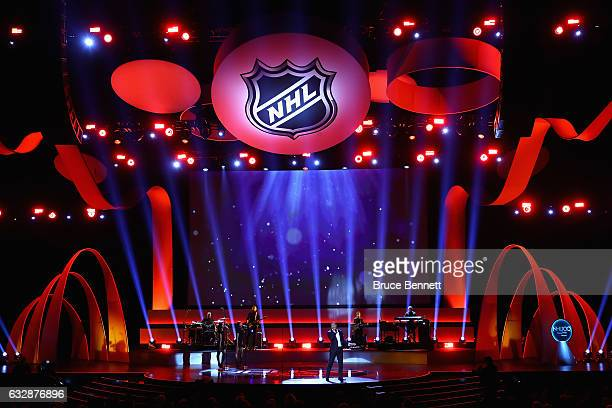 A general view as singersongwriter John Legend performs during the NHL 100 presented by GEICO Show as part of the 2017 NHL AllStar Weekend at the...