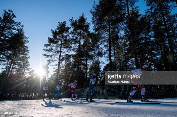 A general view as skiers compete in the Men's Cross Country Mass Start during the FIS Nordic World Ski Championships on March 5 2017 in Lahti Finland