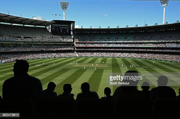A general view as spectators in the crowd watch the match during day one of the Second Test match between Australia and the West Indies at the...