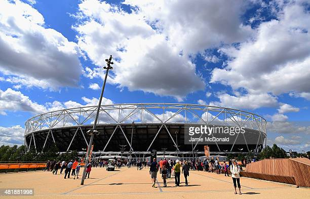 A general view as spectators make their way to the stadium prior to the start of competition during day two of the Sainsbury's Anniversary Games at...
