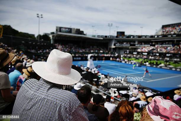 General view as spectators watch from the stands during the doubles match between Demi Schuurs of Netherlands with Renata Voracova of Czech Republic...