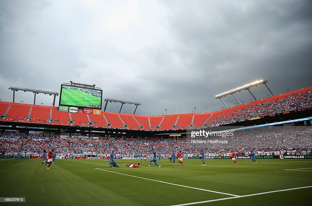 A general view as storm clouds form over the stadium during the International Friendly match between England and Honduras at Sun Life Stadium on June 7, 2014 in Miami Gardens, Florida.