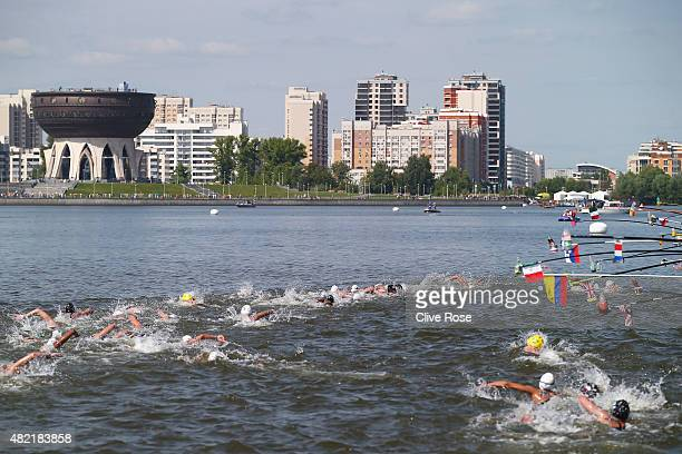 A general view as swimmers compete in the Women's 10km Open Water Swimming Final on day four of the 16th FINA World Championships at the Kazanka...