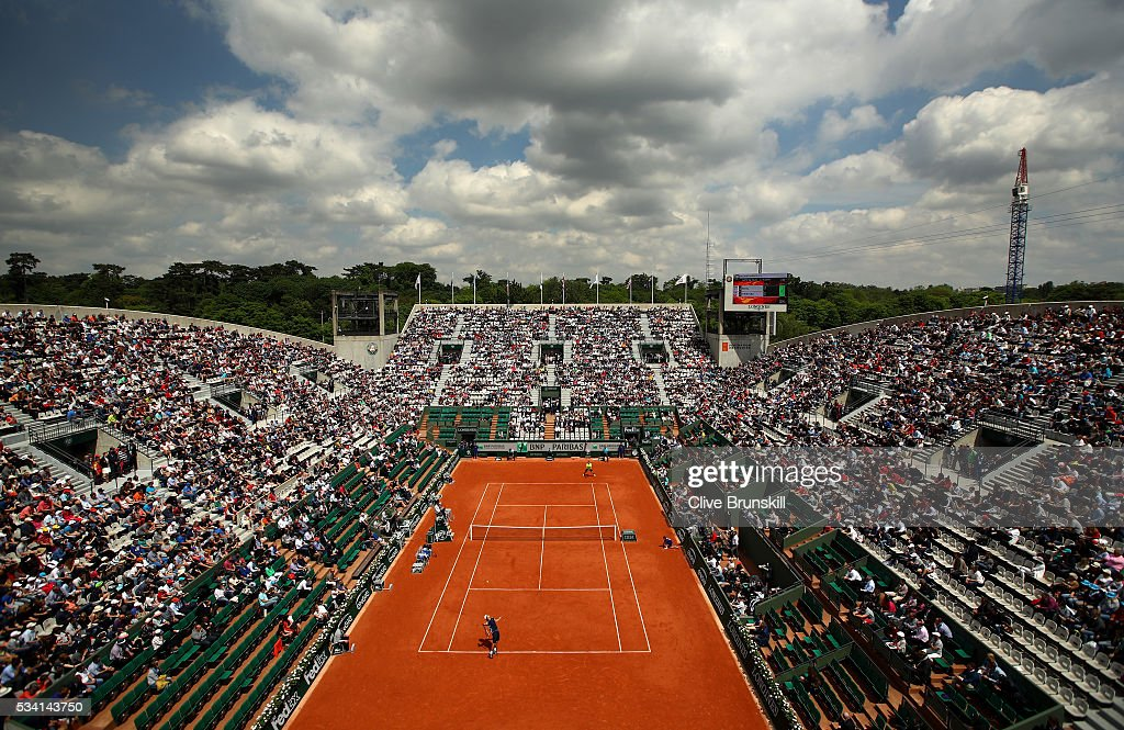 A general view as <a gi-track='captionPersonalityLinkClicked' href=/galleries/search?phrase=Taro+Daniel&family=editorial&specificpeople=7180028 ng-click='$event.stopPropagation()'>Taro Daniel</a> of Japan serves during the Men's Singles second round match against Stan Wawrinka of Switzerland on day four of the 2016 French Open at Roland Garros on May 25, 2016 in Paris, France.