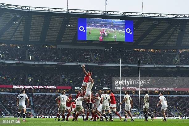 A general view as Taulupe Faletau of Wales wins a lineout ball during the RBS Six Nations match between England and Wales at Twickenham Stadium on...