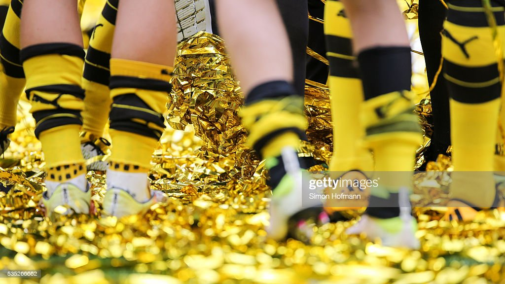 A general view as team mates of Dortmund celebrate after the A Juniors German Championship Final match between 1899 Hoffenheim U19 and Borussia Dortmund U19 at Wirsol Rhein-Neckar-Arena on May 29, 2016 in Sinsheim, Germany.