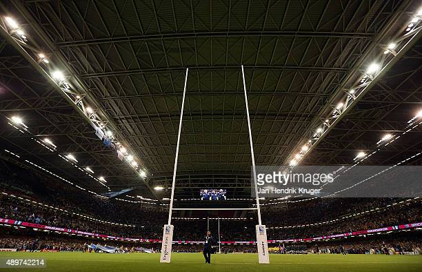 General view as teams line up for the national anthems during the 2015 Rugby World Cup Pool A match between Australia and Fiji at Millennium Stadium...