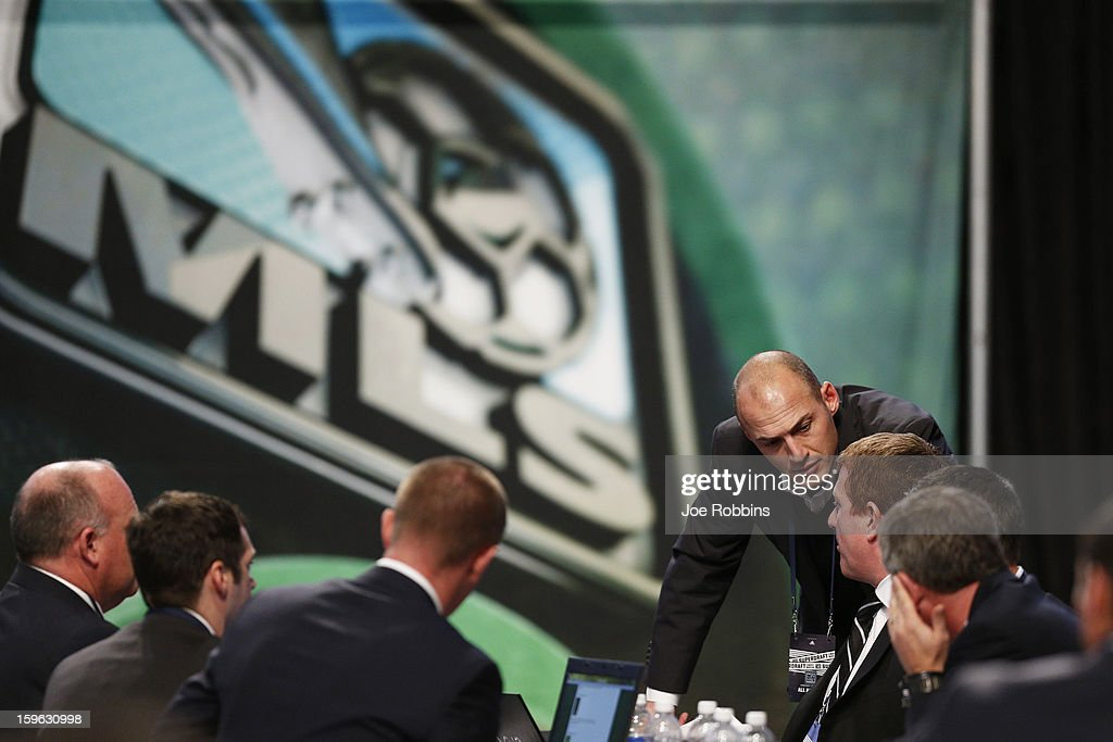 General view as teams work at their respective tables during the 2013 MLS SuperDraft Presented by Adidas at the Indiana Convention Center on January 17, 2013 in Indianapolis, Indiana.