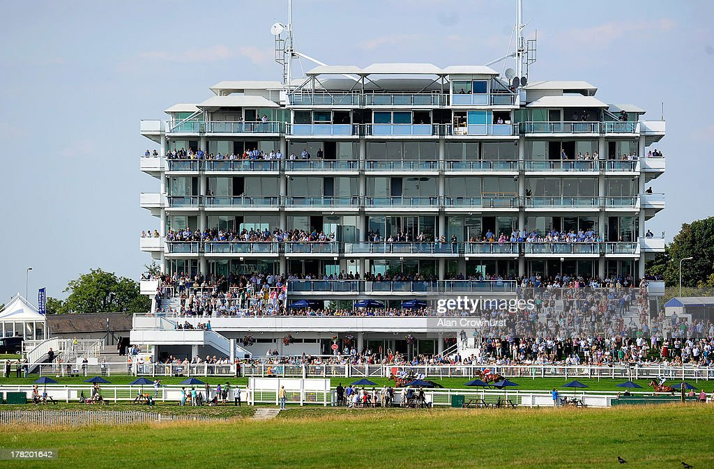 General view as Ted Durcan riding Toptempo win The Chantilly Handicap Stakes at Epsom racecourse on August 27, 2013 in Epsom, England.