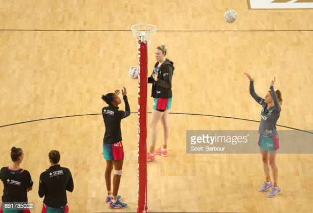A general view as Tegan Philip of the Vixens warms up during the Super Netball Major Semi Final match between the Vixens and the Lightning at...