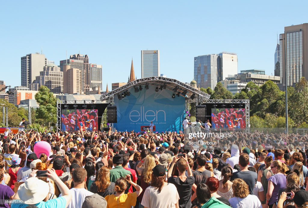 A general view as television personality Ellen DeGeneres appears on stage during the filming of her television show at Birrarung Marr on March 26, 2013 in Melbourne, Australia. DeGeneres is in Australia to film segments for her TV show, 'Ellen'.