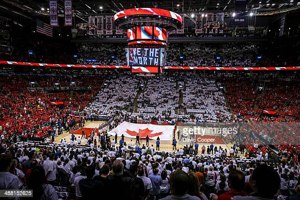 General view as the ACC was turned into a giant Canadian Flag with red and white Tshirts on every seat during the singing of the Canadian National...
