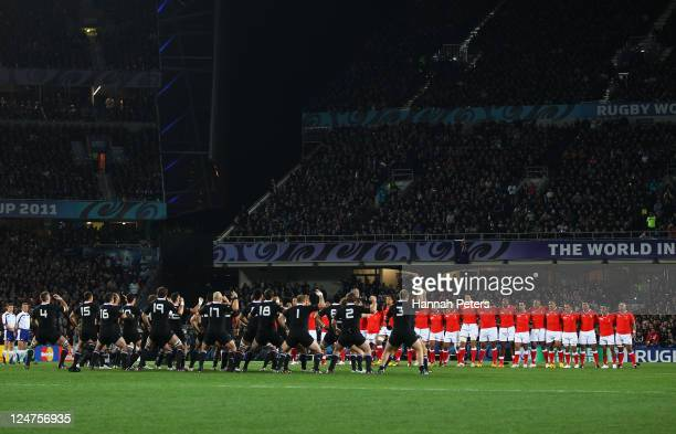A general view as the All Blacks perform the Haka during the IRB 2011 Rugby World Cup Pool A match between New Zealand and Tonga at Eden Park on...