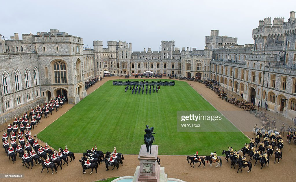 A general view as the Amir Sheikh Sabah Al-Ahmad Al-Jaber Al-Sabah of Kuwait arrives at Windsor Castle during a three-day state visit on November 27, 2012 in Windsor, England. In the afternoon a military parade will be inspected at Royal Military Academy Sandhurst then a banquet is to be held at Windsor Castle in the Amir's honour this evening.