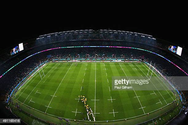 A general view as the Australian team are applauded from the field after the 2015 Rugby World Cup Pool A match between England and Australia at...