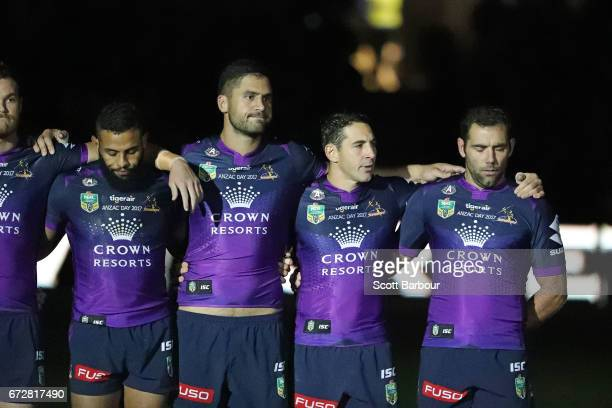 A general view as the Billy Slater of the Melbourne Storm Cameron Smith of the Melbourne Storm Josh AddoCarr of the Melbourne Storm and the Storm...