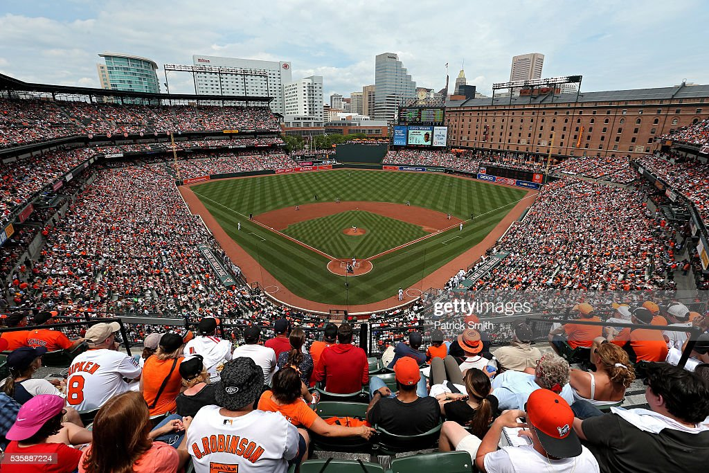 A general view as the Boston Red Sox play the Baltimore Orioles at Oriole Park at Camden Yards on May 30, 2016 in Baltimore, Maryland.