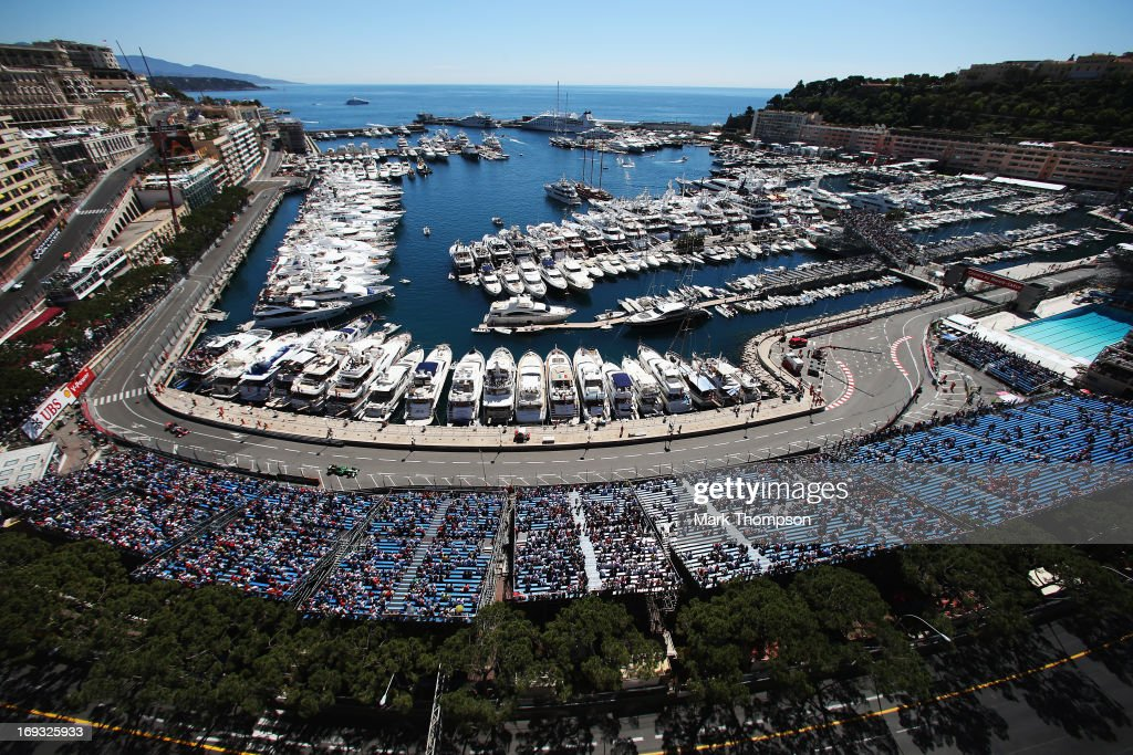 General view as the cars round the harbour and swimming pool complex during practice for the Monaco Formula One Grand Prix at the Circuit de Monaco on May 23, 2013 in Monte-Carlo, Monaco.