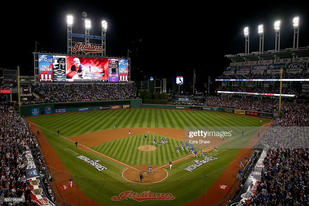 A general view as the Chicago Cubs celebrate after defeating the Cleveland Indians 8-7 in Game Seven of the 2016 World Series at Progressive Field on November 2, 2016 in Cleveland, Ohio. The Cubs win their first World Series in 108 years.