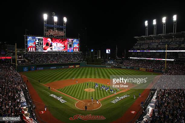 A general view as the Chicago Cubs celebrate after defeating the Cleveland Indians 87 in Game Seven of the 2016 World Series at Progressive Field on...