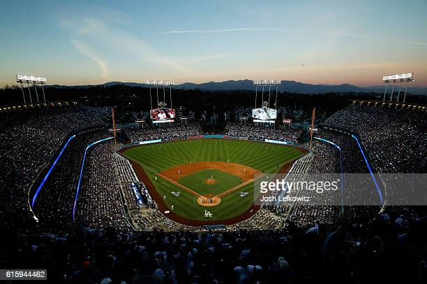 A general view as the Chicago Cubs take on the Los Angeles Dodgers in game five of the National League Division Series at Dodger Stadium on October...