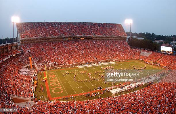 General view as the Clemson Band spells out 'Tigers' before the game against the Florida State Seminoles at Clemson Memorial Stadium on September 3...