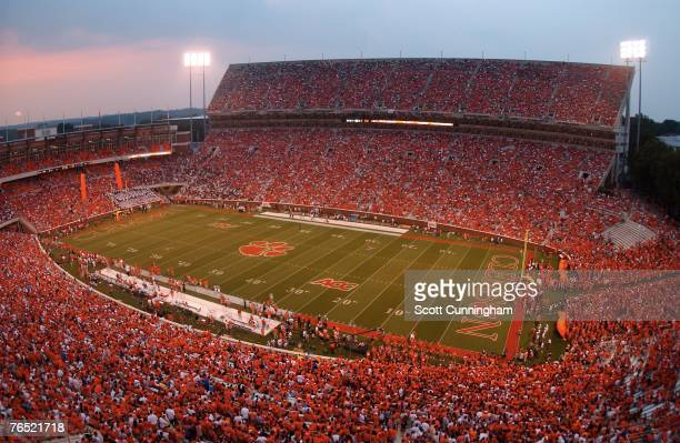 General view as the Clemson Tigers field is cleared before the game against the Florida State Seminoles at Clemson Memorial Stadium on September 3...