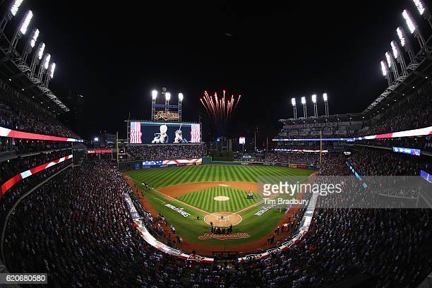 A general view as the Cleveland Indians and Chicago Cubs stand for the national anthem prior to Game Seven of the 2016 World Series at Progressive...