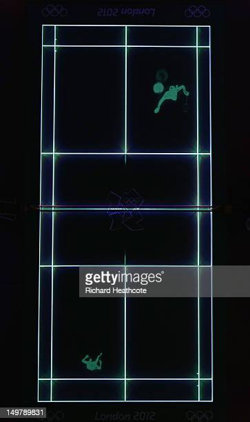 General View as the court is illuminated by lasers during Badminton on Day 8 of the London 2012 Olympic Games at Wembley Arena on August 4 2012 in...