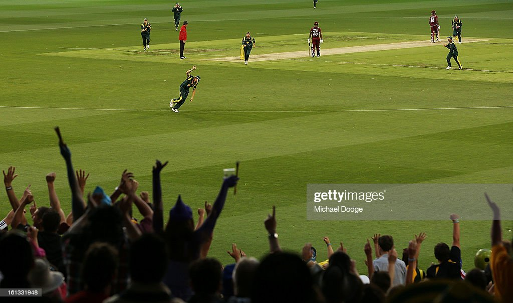 A general view as the crowd celebrate a James Faulkner catch during game five of the Commonwealth Bank International Series between Australia and the West Indies at Melbourne Cricket Ground on February 10, 2013 in Melbourne, Australia.