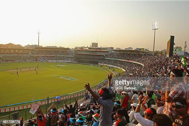 A general view as the crowd watch the ICC World Twenty20 Bangladesh 2014 match between Pakistan and Bangladesh at ShereBangla Mirpur Stadium on March...