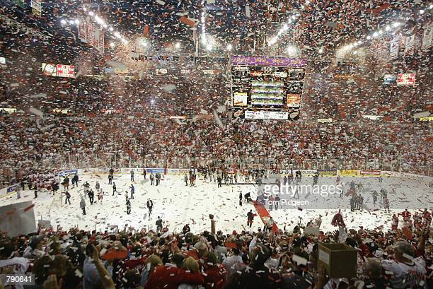 A general view as the Detroit Red Wings celebrate winning the Stanley Cup after defeating the Carolina Hurricanes in game five of the NHL Stanley Cup...
