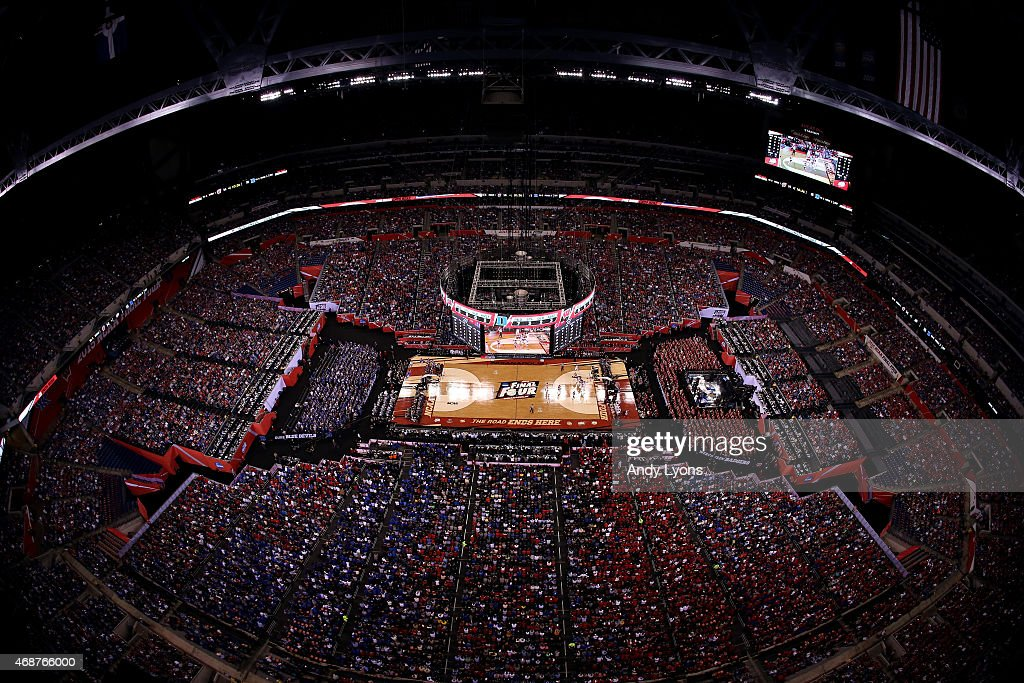 A general view as the Duke Blue Devils play the Wisconsin Badgers during the NCAA Men's Final Four National Championship at Lucas Oil Stadium on...