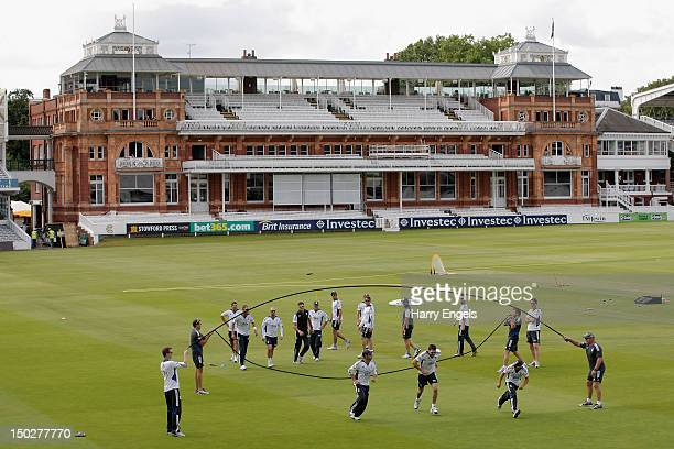 A general view as the England team warm up during an England and South Africa nets session at Lord's Cricket Ground on August 14 2012 in London...