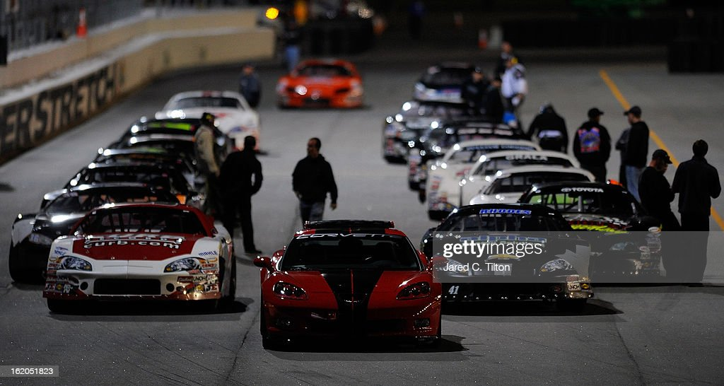 A general view as the field prepares to take the green flag during the NASCAR Whelen All-American Late Model UNOH Battle At The Beach at Daytona International Speedway on February 18, 2013 in Daytona Beach, Florida.